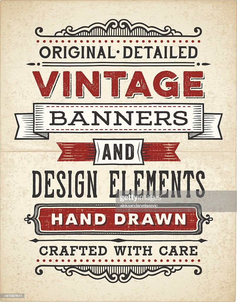Vintage Banners Hand Drawn