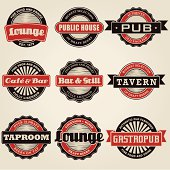 Vintage Bar Labels Icon Set