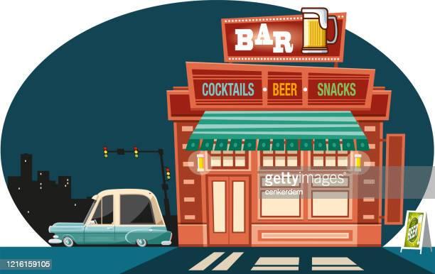 stockillustraties, clipart, cartoons en iconen met vintage bar - sterkedrank