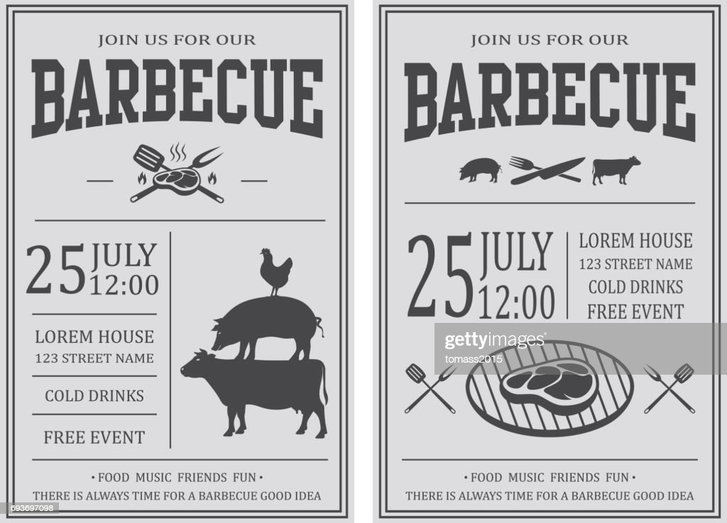 Vintage barbecue party invitation. BBQ, food flyer template