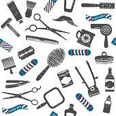 Vintage barber shop related seamless pattern 1