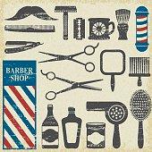 Vintage barber shop tools silhouette icons set 1