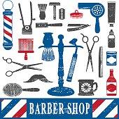 Vintage barber shop tools silhouette icons set 2