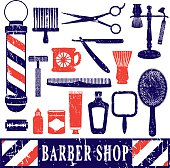 Vintage barber shop tools silhouette icons set 3