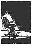 Vintage barbershop background with barber chair