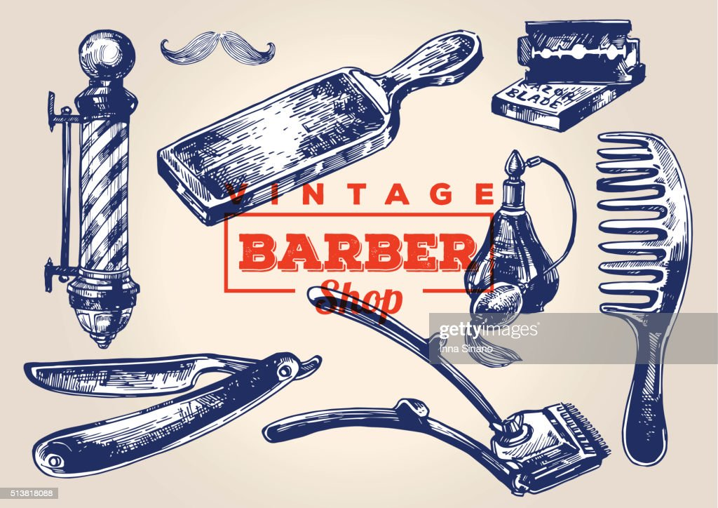 Vintage barbershop elements. Set 1