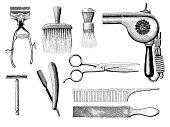 Vintage barbershop tools hand drawing engraving style