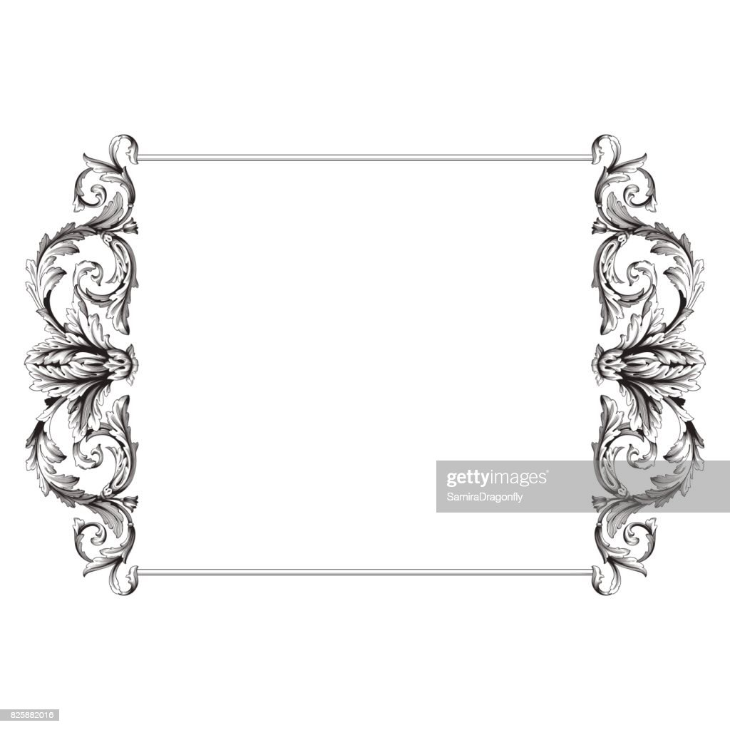 Vintage baroque frame scroll ornament