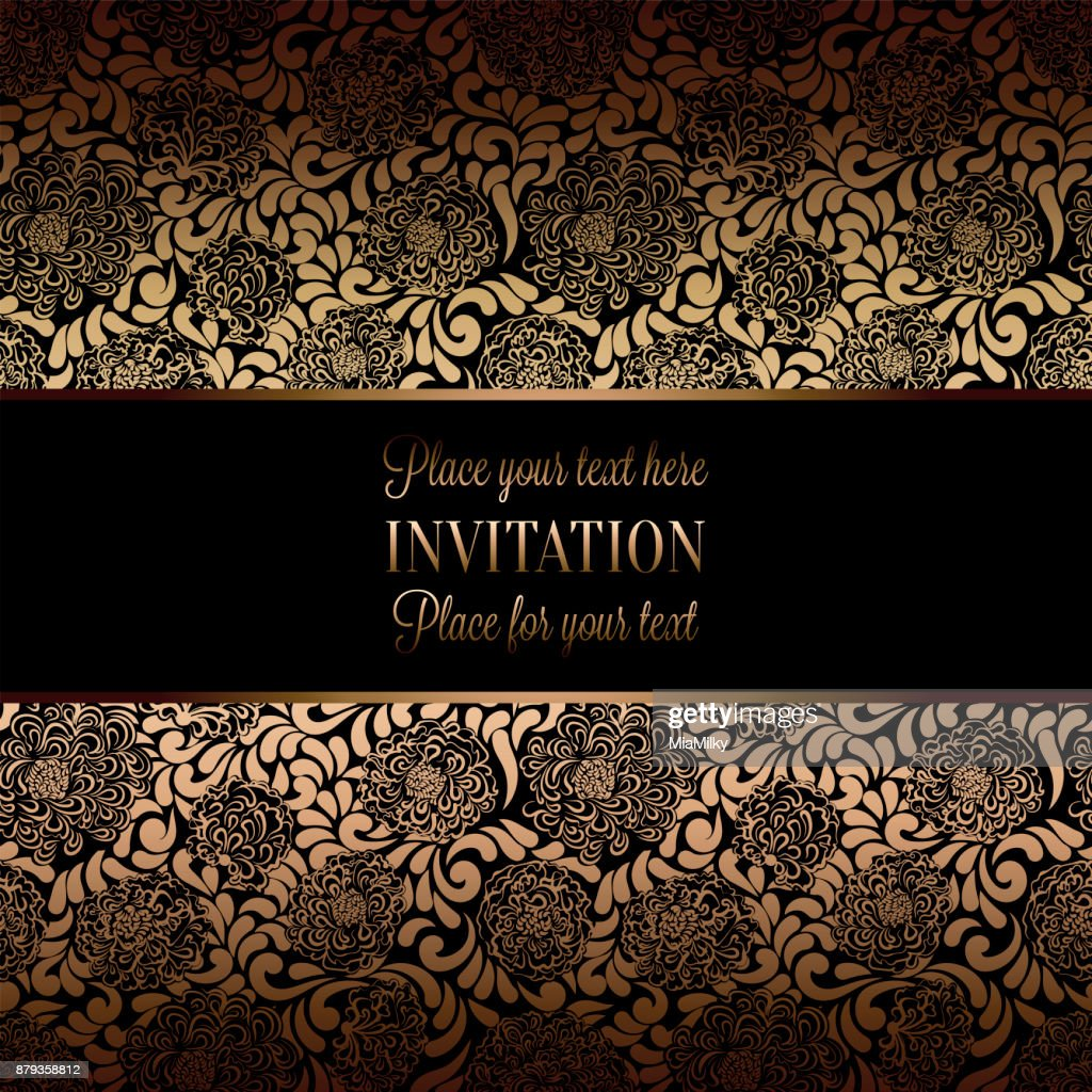 Vintage baroque wedding invitation template with damask background vintage baroque wedding invitation template with damask background tradition decoration for wedding vector illustration in black and gold stopboris Image collections
