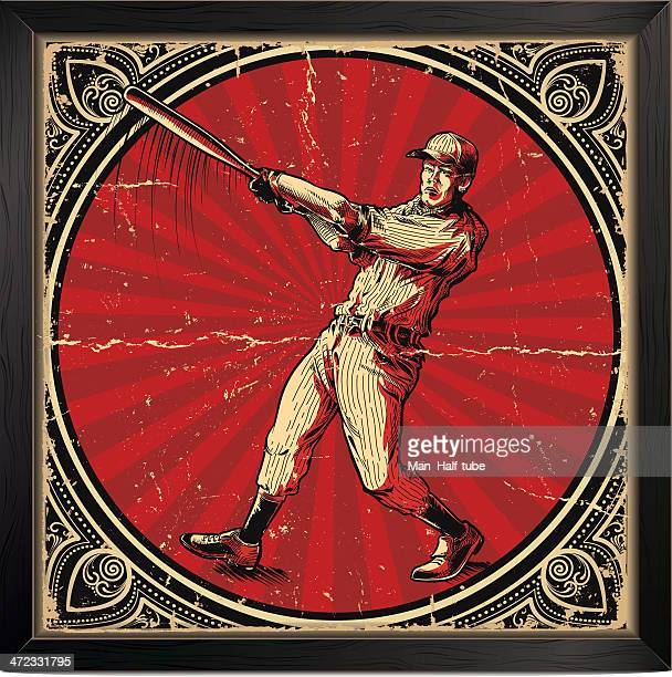 Vintage baseball batter card with red and gold elements