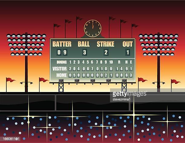 Vintage baseball scoreboard illustration
