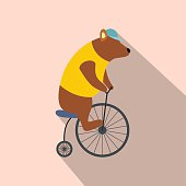 Vintage bear on bike icon