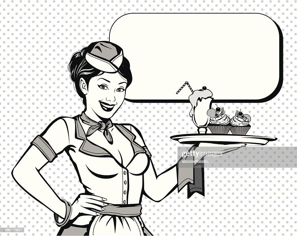 Vintage beautiful waitress