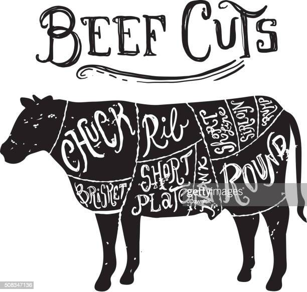 ilustraciones, imágenes clip art, dibujos animados e iconos de stock de vintage cortes de carne de res diagrama de carnicero - carne de vaca