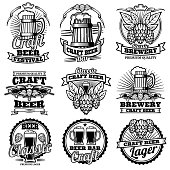 Vintage beer drink bar vector labels. Retro brewery emblems and icons with hops and mug