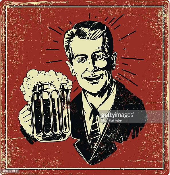 vintage beer poster - beer alcohol stock illustrations, clip art, cartoons, & icons