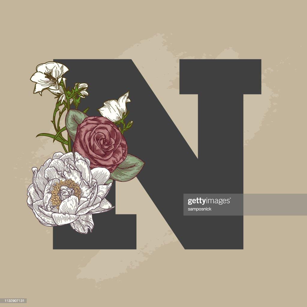 Vintage Beige Floral Drop Cap Letter : stock illustration