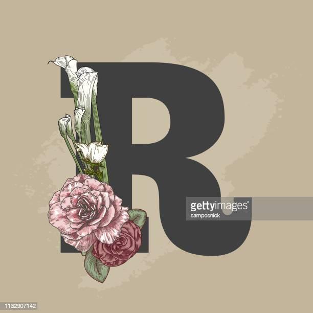 vintage beige floral drop cap letter - nature alphabet letters stock illustrations