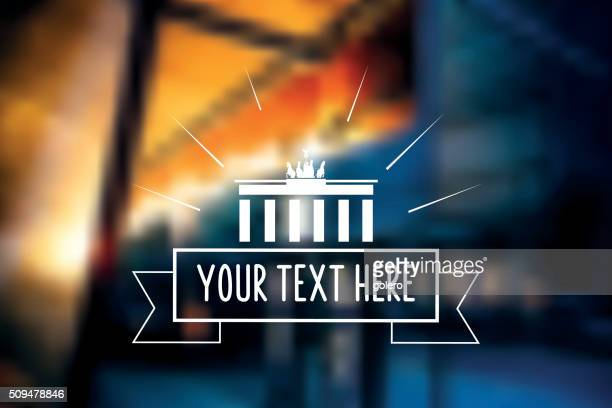 vintage berlin icon on blurred night background - brandenburg gate stock illustrations, clip art, cartoons, & icons