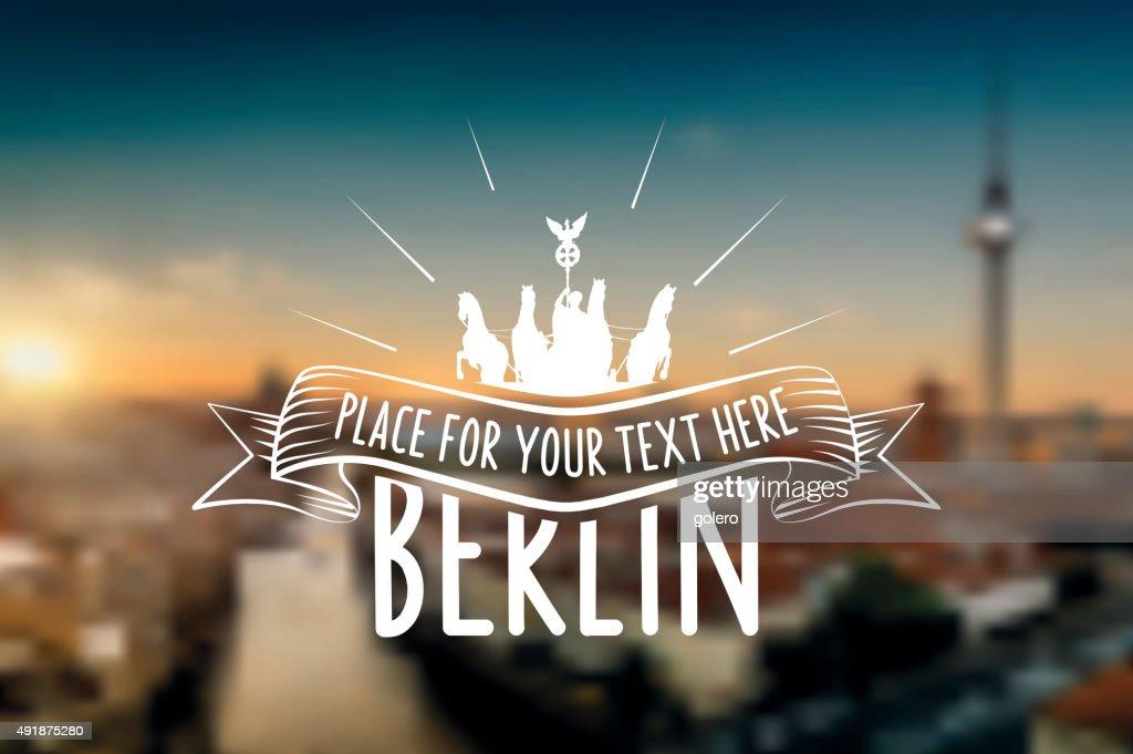 vintage berlin vector label on blurred sundown skyline