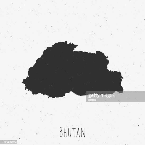 vintage bhutan map with retro style, on dusty white background - bhutan stock illustrations