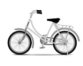 Vintage bicycle on white background.