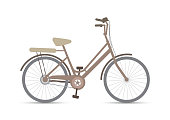Vintage bicycle on white background, vector illustration flat icon
