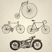 Vintage bicycles set.