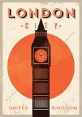 Vintage Big Ben, London City Poster