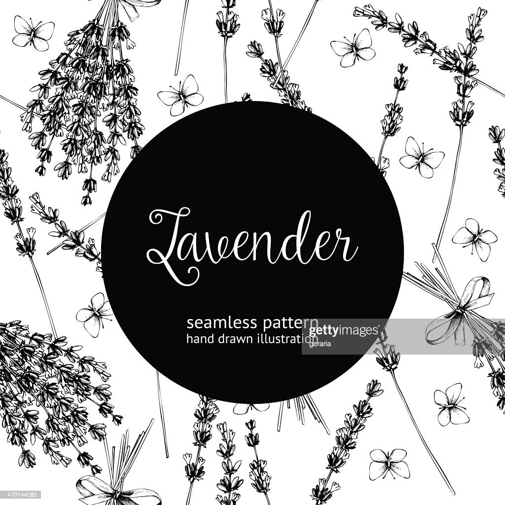 Vintage black and white background of lavender flowers