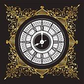 Vintage black and white clock