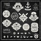 Vintage black and white travel icons
