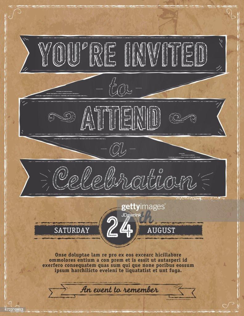 Vintage blackboard and paper bag concept invitation design template