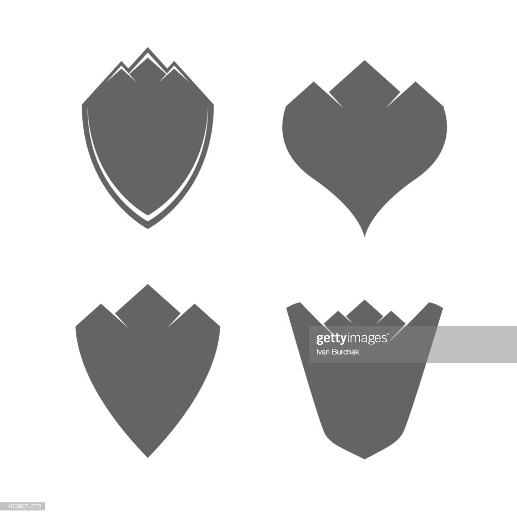 Vintage Blank Shields with Mountains. Vector Design Elements Set for You Design