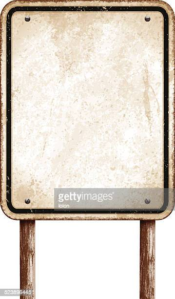 vintage blank sign with wooden post and black border_vector - rusty stock illustrations