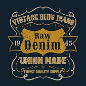 Vintage blue jeans graphic for apparel,tee design,vector