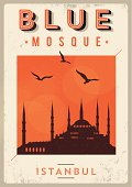 Vintage Blue Mosque - Istanbul Poster