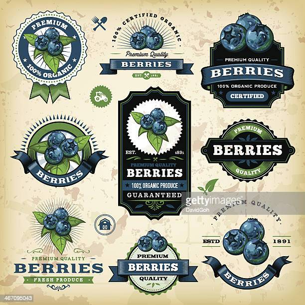 vintage blueberries labels - blueberry stock illustrations, clip art, cartoons, & icons