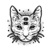 Vintage boho illustration with four eyed magic cat. Tattoo art style.