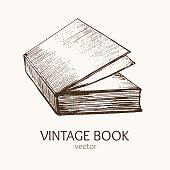 Vintage Book Hand Draw Sketch Card. Vector