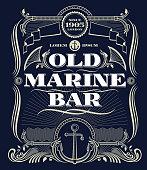 Vintage border western vector frame, old marine bar label