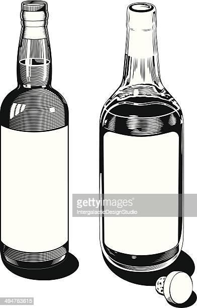 vintage bottles - whiskey stock illustrations