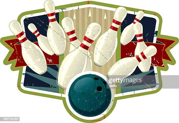 vintage bowling crest with ball knocking down pins - bowling ball stock illustrations, clip art, cartoons, & icons