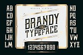 Vintage Brandy Label Typeface with classic ornate and pattern