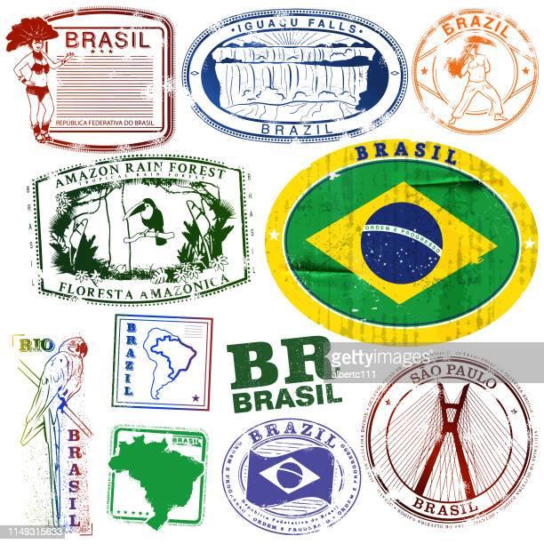 Vintage Brazil Travel Stamps