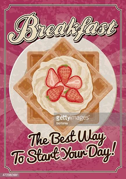 vintage breakfast poster - waffle stock illustrations, clip art, cartoons, & icons