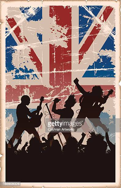 vintage poster british rock - rebellion stock-grafiken, -clipart, -cartoons und -symbole
