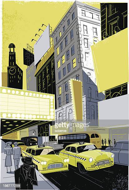 vintage broadway - yellow taxi stock illustrations, clip art, cartoons, & icons