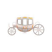 Vintage brougham, wedding carriage vector Illustration on a white background