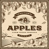 Vintage brown apples label